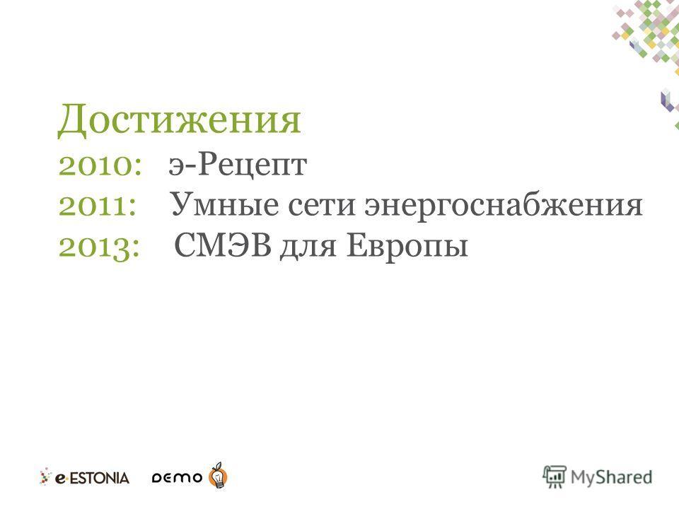 Достижения 2010: э-Рецепт 2011: Умные сети энергоснабжения 2013: СМЭВ для Европы