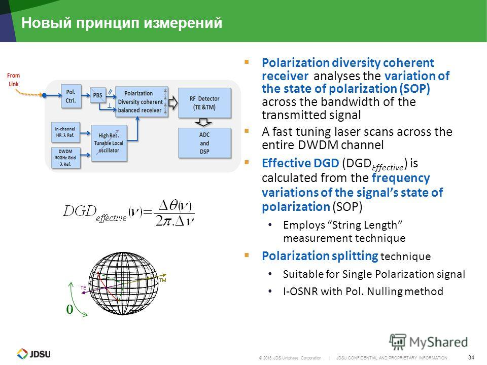 © 2013 JDS Uniphase Corporation | JDSU CONFIDENTIAL AND PROPRIETARY INFORMATION 34 Новый принцип измерений Polarization diversity coherent receiver analyses the variation of the state of polarization (SOP) across the bandwidth of the transmitted sign
