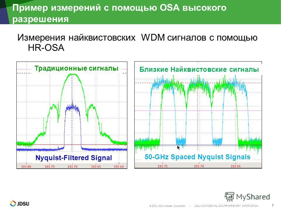 © 2013 JDS Uniphase Corporation | JDSU CONFIDENTIAL AND PROPRIETARY INFORMATION 7 Пример измерений с помощью OSA высокого рразрешения Измерения найквистовских WDM сигналов с помощью HR-OSA Традиционные сигналы Nyquist-Filtered Signal 50-GHz Spaced Ny