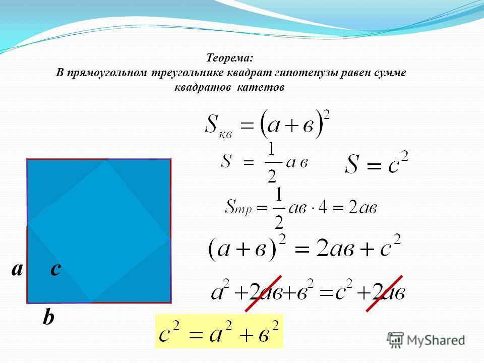 Теорема: В прямоугольном треугольнике квадрат гипотенузы равен сумме квадратов катетов a b c
