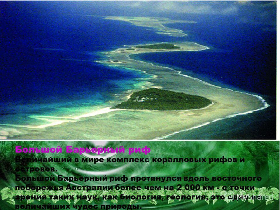 Большой Барьерный риф Величайший в мире комплекс коралловых рифов и островов. Большой Барьерный риф протянулся вдоль восточного побережья Австралии более чем на 2 000 км - с точки зрения таких наук, как биология, геология, это одно из величайших чуде