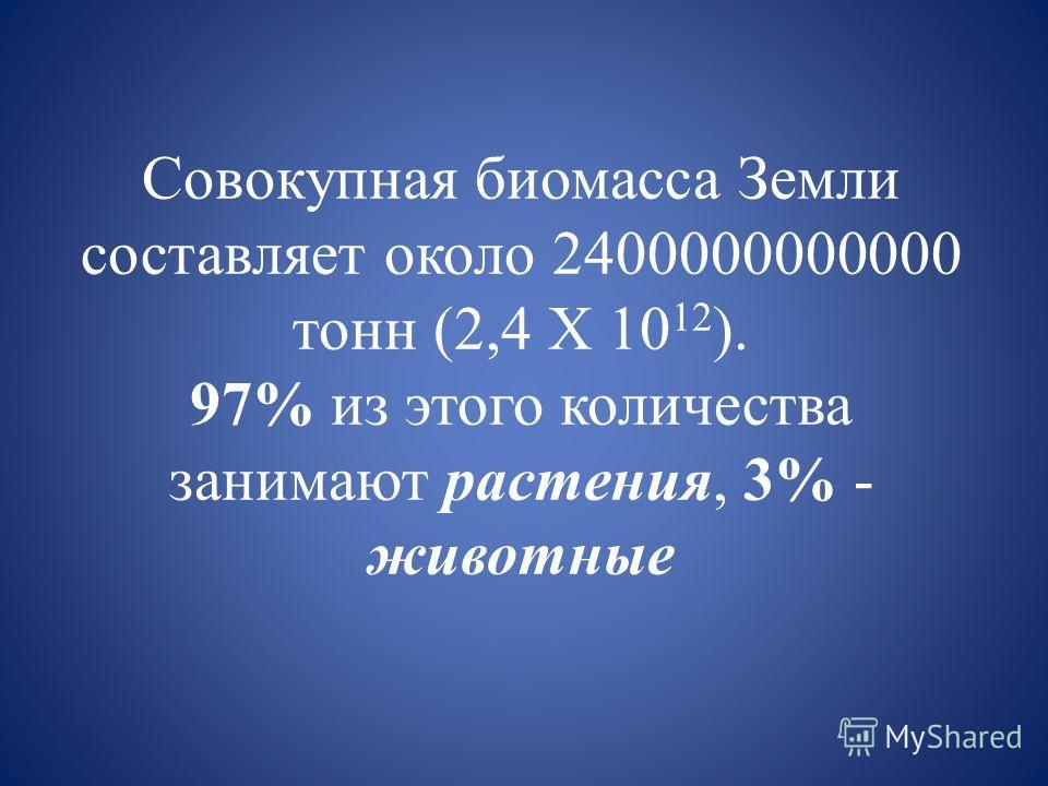 Совокупная биомасса Земли составляет около 2400000000000 тонн (2,4 Х 10 12 ). 97% из этого количества занимают растения, 3% - животные