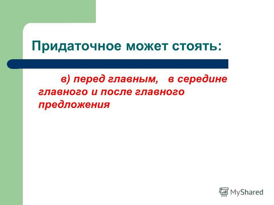 Придаточное может стоять: в) перед главным, в середине главного и после главного предложения