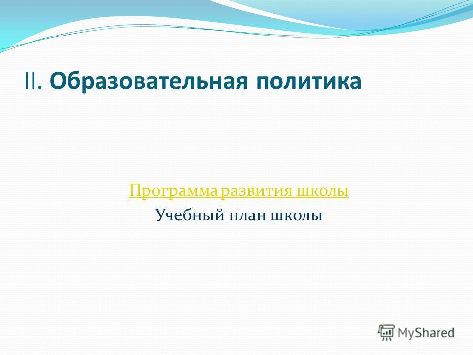 II. Образовательная политика Программа развития школы Учебный план школы