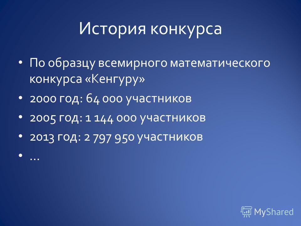По образцу всемирного математического конкурса «Кенгуру» 2000 год: 64 000 участников 2005 год: 1 144 000 участников 2013 год: 2 797 950 участников …