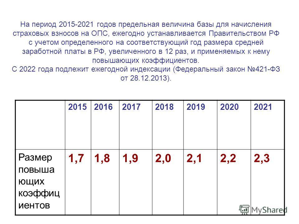 На период 2015-2021 годов предельная величина базы для начисления страховых взносов на ОПС, ежегодно устанавливается Правительством РФ с учетом определенного на соответствующий год размера средней заработной платы в РФ, увеличенного в 12 раз, и приме