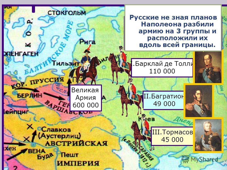 Летом 1812 г. французская ар-мия численностью 600 000 человек сосредоточилась на территории Польши. Великая Армия 600 000 II.Багратион 49 000 I.Барклай де Толли 110 000 III.Тормасов 45 000 Наполеон рассчитывал в при-граничном сражении раз-бить против