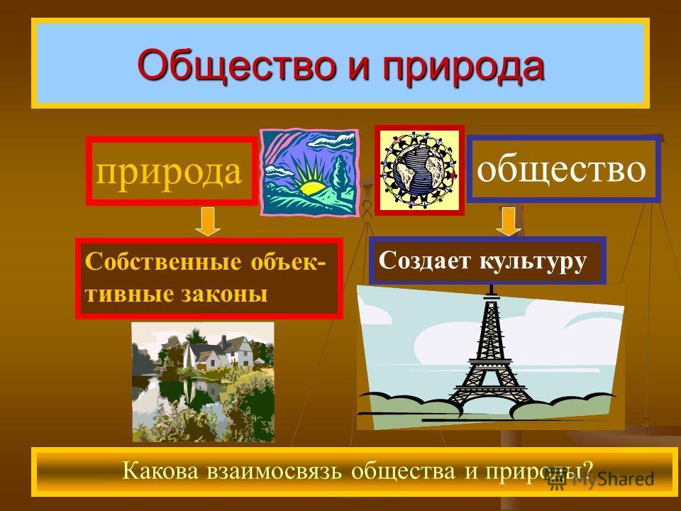 Общество и природа Какова взаимосвязь общества и природы? природа общество Собственные объективные законы Создает культуру