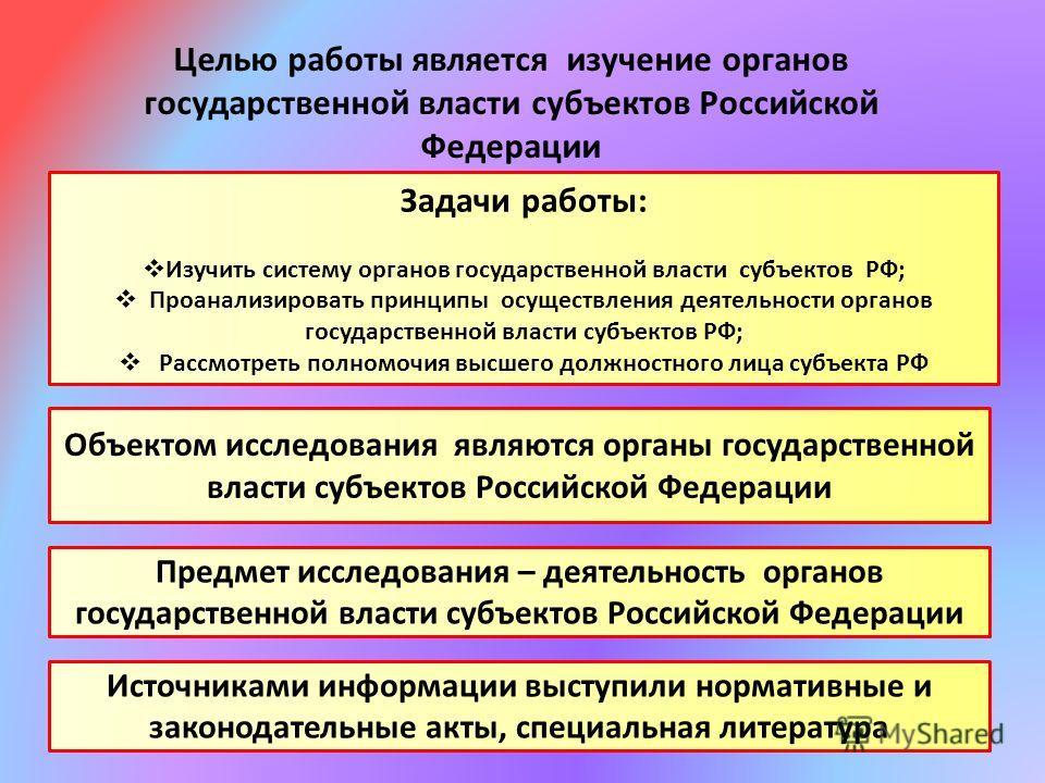 Целью работы является изучение органов государственной власти субъектов Российской Федерации Задачи работы: Изучить систему органов государственной власти субъектов РФ; Проанализировать принципы осуществления деятельности органов государственной влас