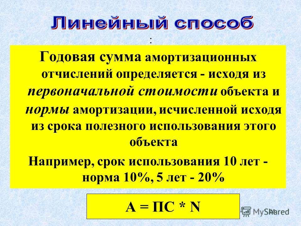 28 : Годовая сумма амортизационных отчислений определяется - исходя из первоначальной стоимости объекта и нормы амортизации, исчисленной исходя из срока полезного использования этого объекта Например, срок использования 10 лет - норма 10%, 5 лет - 20