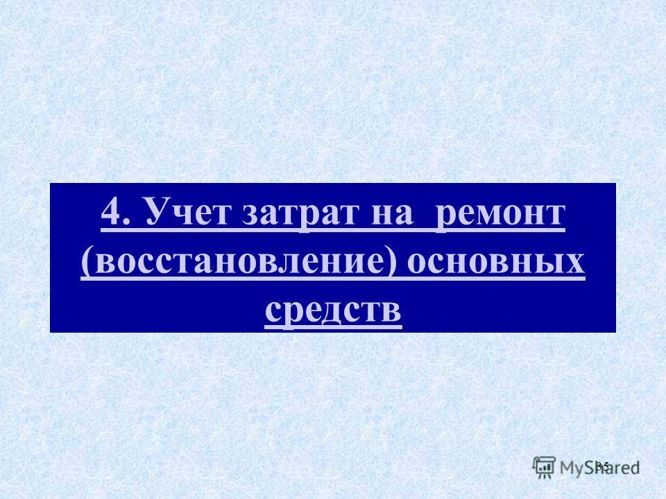 35 4. Учет затрат на ремонт (восстановление) основных средств