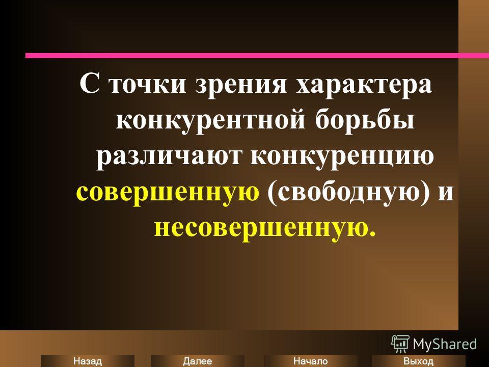 Выход Начало Далее Назад С точки зрения характера конкурентной борьбы различают конкуренцию совершенную (свободную) и несовершенную.