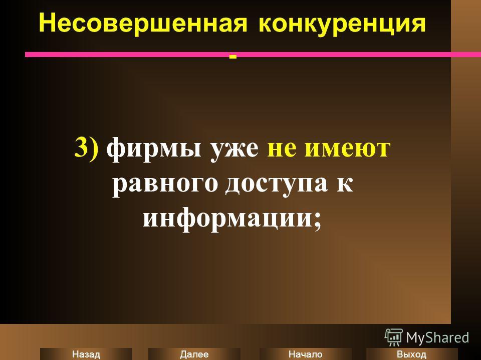 Выход Начало Далее Назад Несовершенная конкуренция - 3) фирмы уже не имеют равного доступа к информации;
