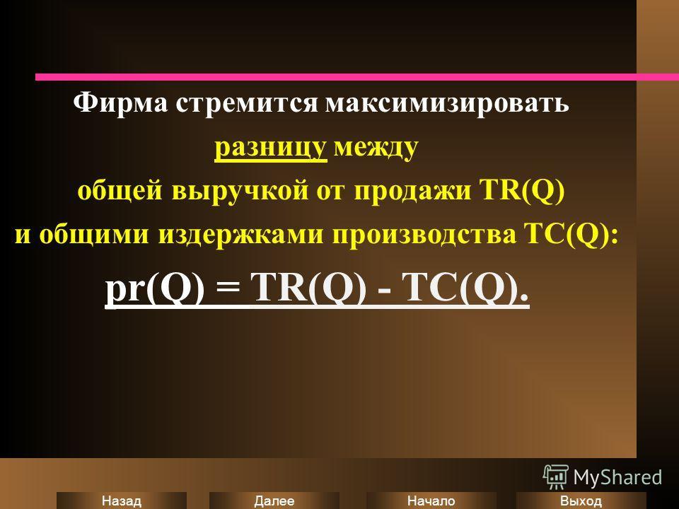 Выход Начало Далее Назад Фирма стремится максимизировать разницу между общей выручкой от продажи TR(Q) и общими издержками производства ТC(Q): pr(Q) = TR(Q) - TC(Q).