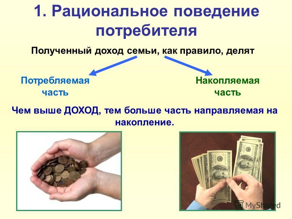 1. Рациональное поведение потребителя Полученный доход семьи, как правило, делят Потребляемая часть Накопляемая часть Чем выше ДОХОД, тем больше часть направляемая на накопление.