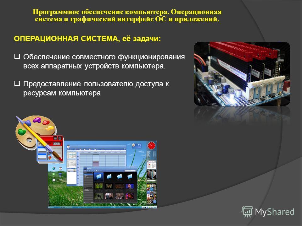 ОПЕРАЦИОННАЯ СИСТЕМА, её задачи: Обеспечение совместного функционирования всех аппаратных устройств компьютера. Предоставление пользователю доступа к ресурсам компьютера