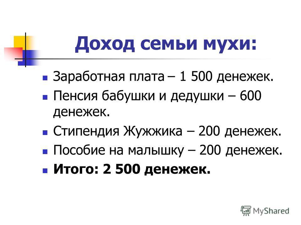 Доход семьи мухи: Заработная плата – 1 500 денежек. Пенсия бабушки и дедушки – 600 денежек. Стипендия Жужжика – 200 денежек. Пособие на малышку – 200 денежек. Итого: 2 500 денежек.