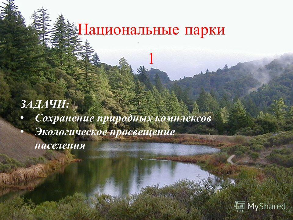 Национальные парки 1 ЗАДАЧИ: С охранение природных комплексов Э кологическое просвещение населения