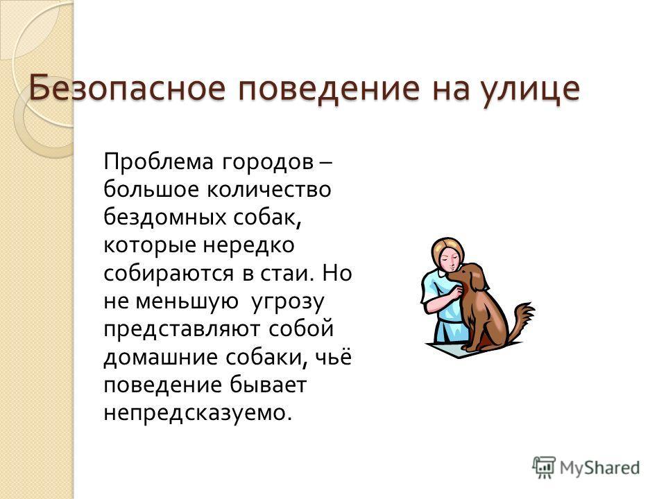Безопасное поведение на улице Проблема городов – большое количество бездомных собак, которые нередко собираются в стаи. Но не меньшую угрозу представляют собой домашние собаки, чьё поведение бывает непредсказуемо.