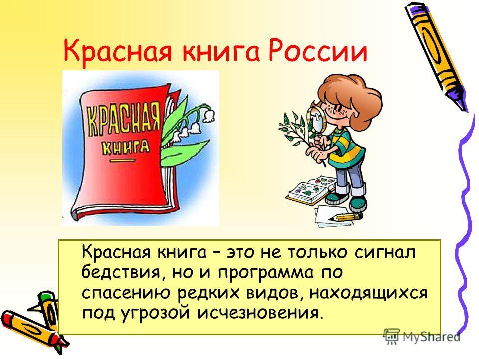 Красная книга России Красная книга – это не только сигнал бедствия, но и программа по спасению редких видов, находящихся под угрозой исчезновения.