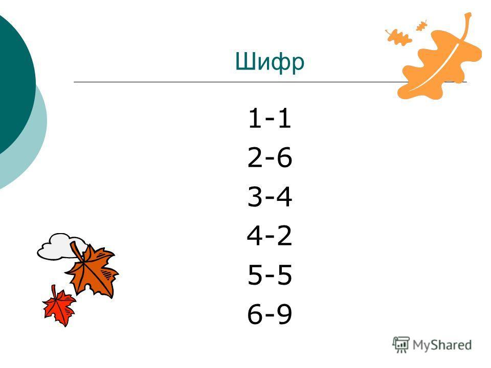 Шифр 1-1 2-6 3-4 4-2 5-5 6-9