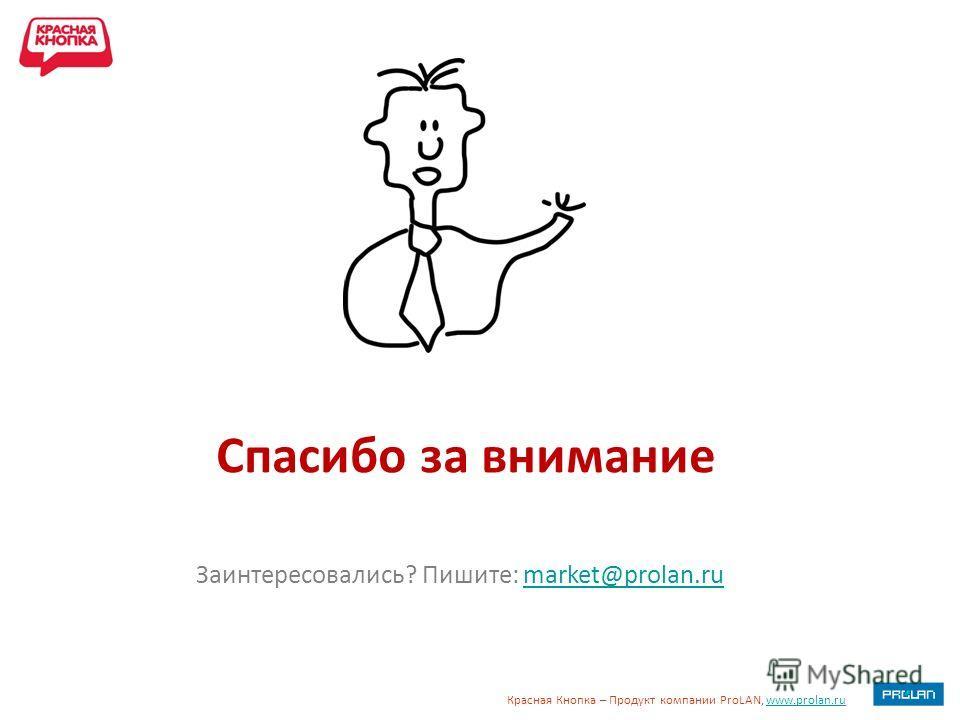 Красная Кнопка – Продукт компании ProLAN, www.prolan.ruwww.prolan.ru Спасибо за внимание Заинтересовались? Пишите: market@prolan.rumarket@prolan.ru