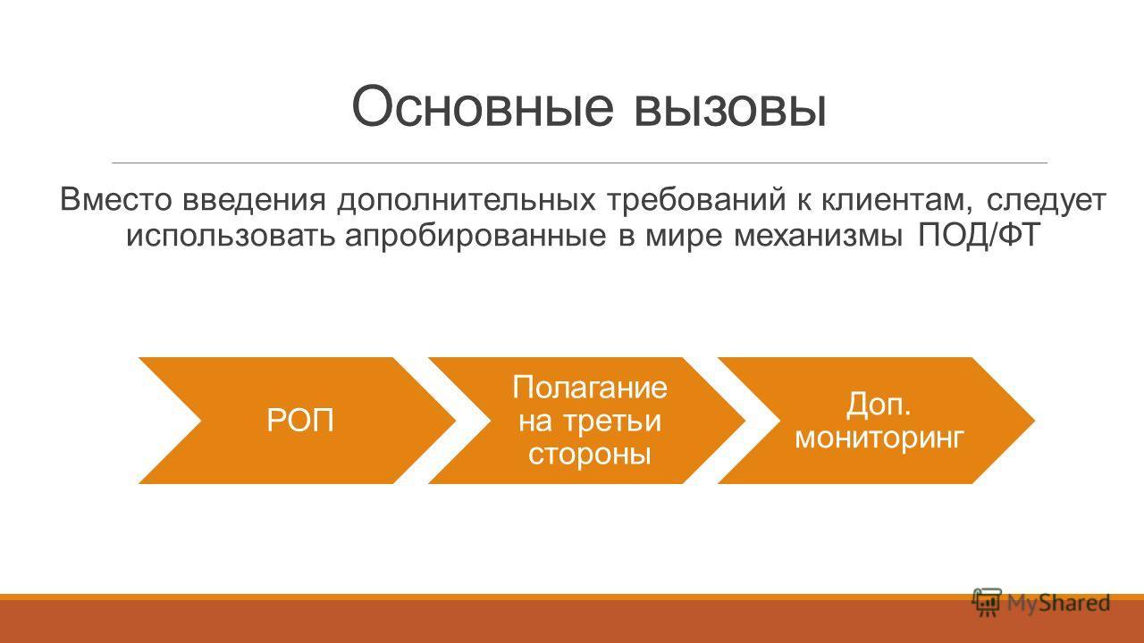 РОП Полагание на третьи стороны Доп. мониторинг Вместо введения дополнительных требований к клиентам, следует использовать апробированные в мире механизмы ПОД/ФТ Основные вызовы