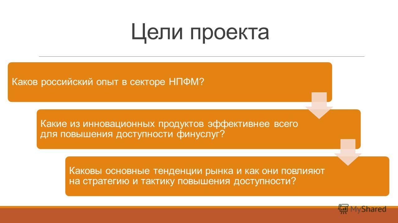 Цели проекта Каков российский опыт в секторе НПФМ? Какие из инновационных продуктов эффективнее всего для повышения доступности фин услуг? Каковы основные тенденции рынка и как они повлияют на стратегию и тактику повышения доступности?