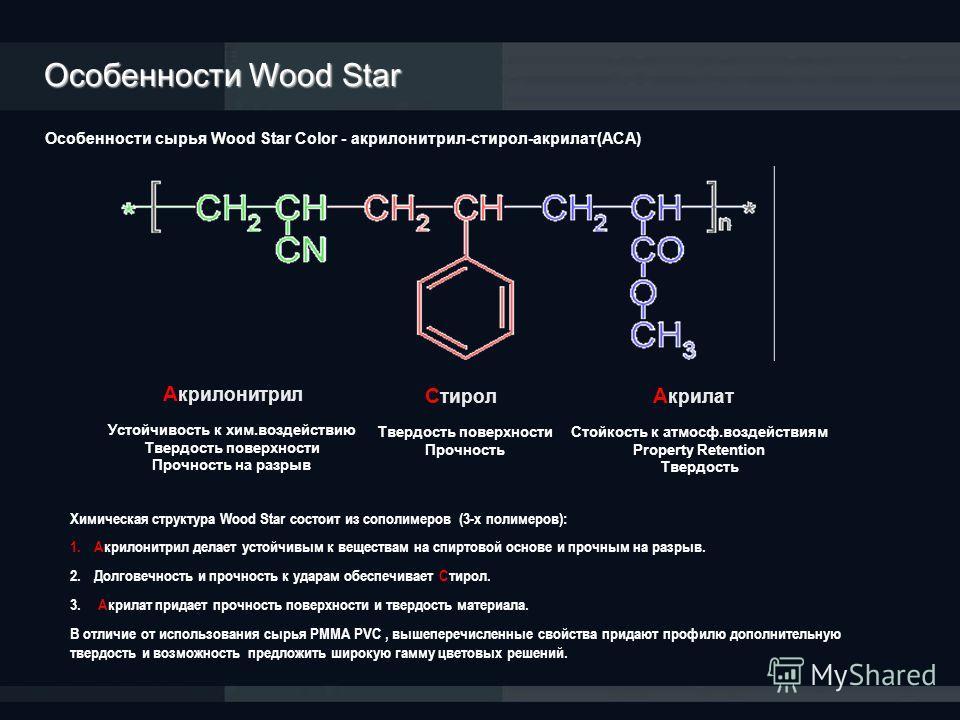 Особенности сырья Wood Star Color - акрилонитрил-стирол-акрилат(АСА) Устойчивость к хим.воздействию Твердость поверхности Прочность на разрыв Стойкость к атмосф.воздействиям Property Retention Твердость Твердость поверхности Прочность А крилонитрил С