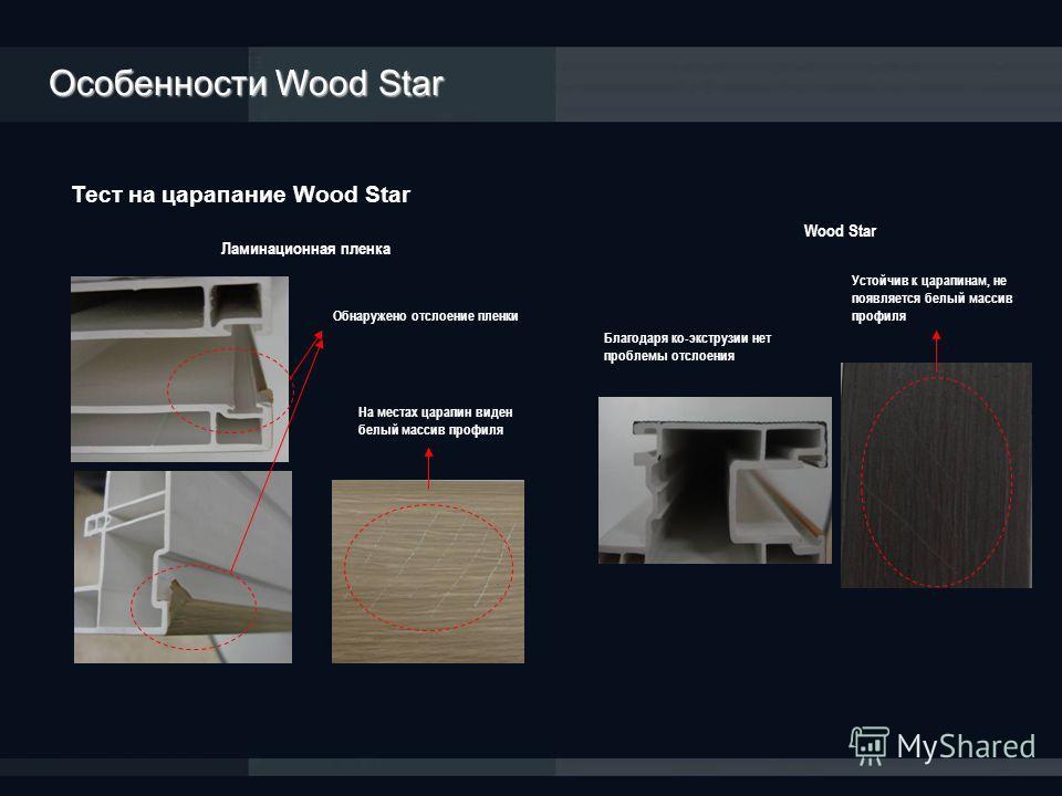 Тест на царапание Wood Star Ламинационная пленка Wood Star Обнаружено отслоение пленки На местах царапин виден белый массив профиля Благодаря ко-экструзии нет проблемы отслоения Устойчив к царапинам, не появляется белый массив профиля Особенности Woo