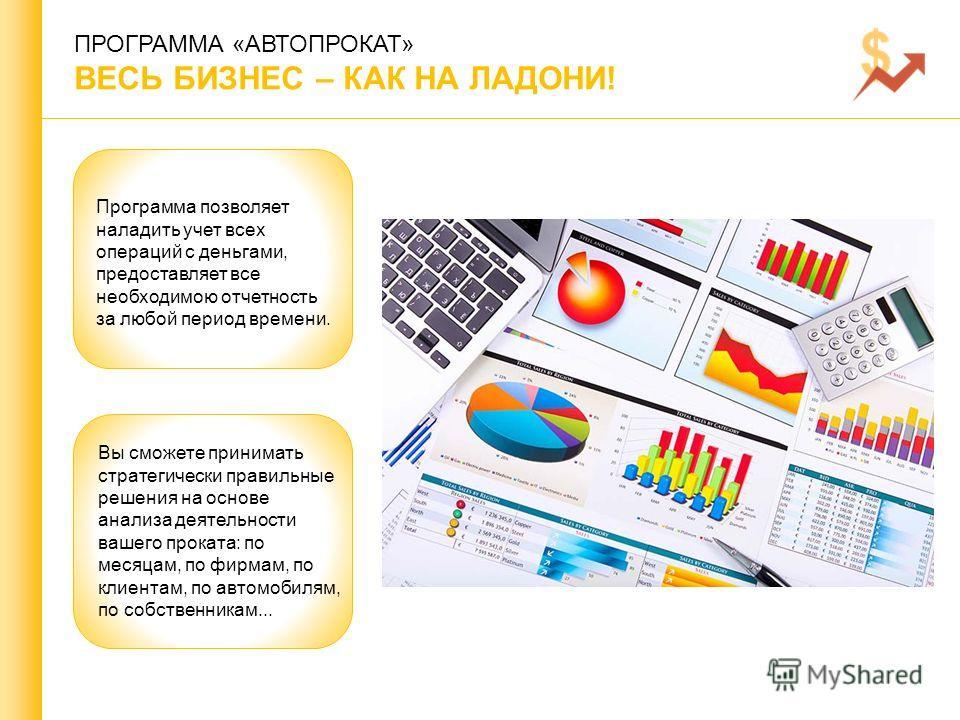 ПРОГРАММА «АВТОПРОКАТ» ВЕСЬ БИЗНЕС – КАК НА ЛАДОНИ! Программа ппозволяет наладить учет всех операций с деньгами, предоставляет все необходимою отчетность за любой период времени. Вы сможете принимать стратегически правильные решения на основе анализа