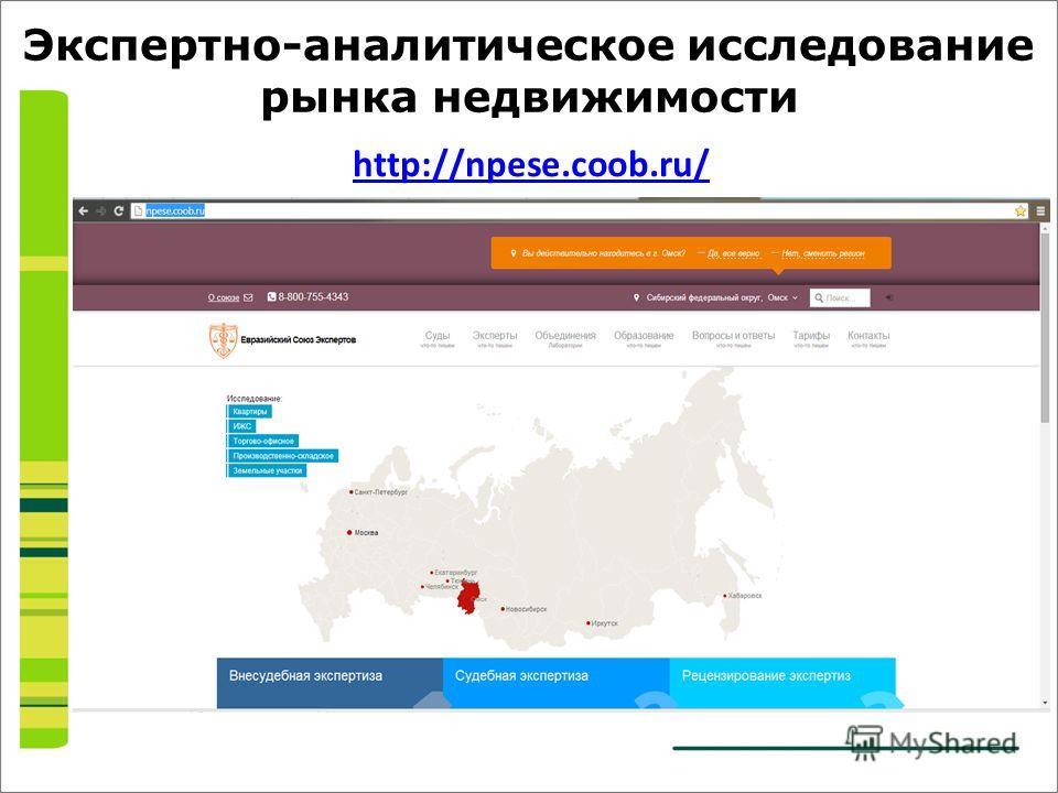 Экспертно-аналитическое исследование рынка недвижимости http://npese.coob.ru/