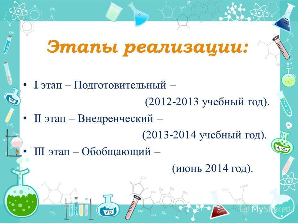 Этапы реализации: I этап – Подготовительный – (2012-2013 учебный год). II этап – Внедренческий – (2013-2014 учебный год). III этап – Обобщающий – (июнь 2014 год).