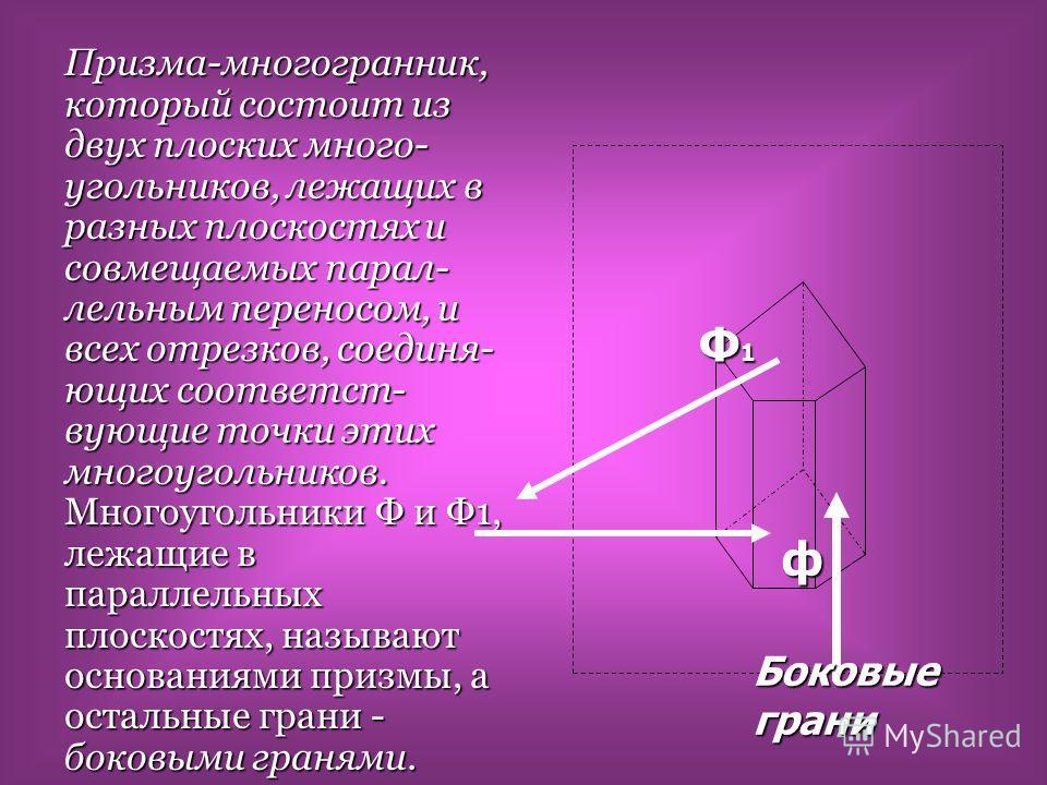 Призма-многогранник, который состоит из двух плоских много- угольников, лежащих в разных плоскостях и совмещаемых параллельным переносом, и всех отрезков, соединяющих соответствующие точки этих многоугольников. Многоугольники Ф и Ф1, лежащие в паралл