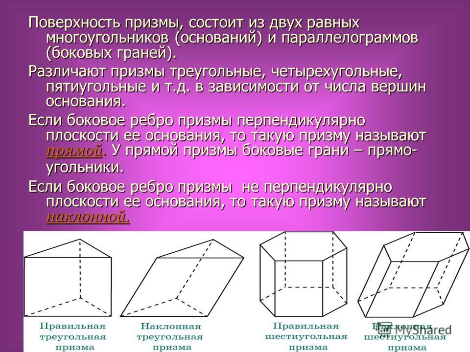 Поверхность призмы, состоит из двух равных многоугольников (оснований) и параллелограммов (боковых граней). Различают призмы треугольные, четырехугольные, пятиугольные и т.д. в зависимости от числа вершин основания. Если боковое ребро призмы перпенди