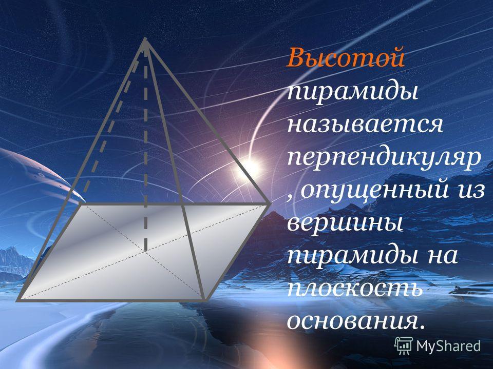Высотой пирамиды называется перпендикуляр, опущенный из вершины пирамиды на плоскость основания.