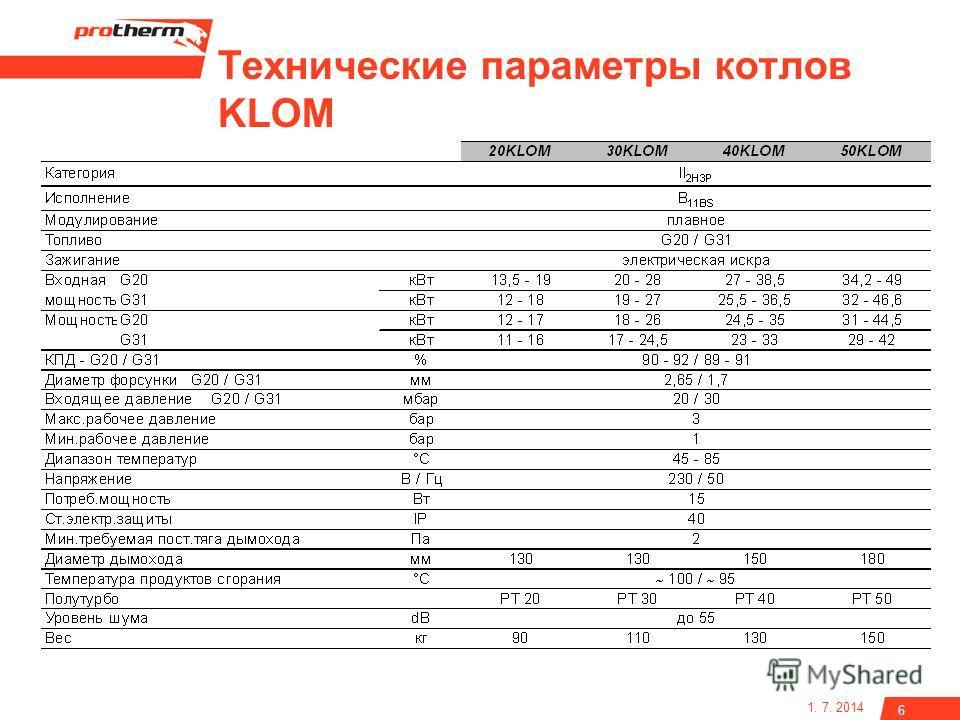 1. 7. 2014 6 Технические параметры котлов KLOM