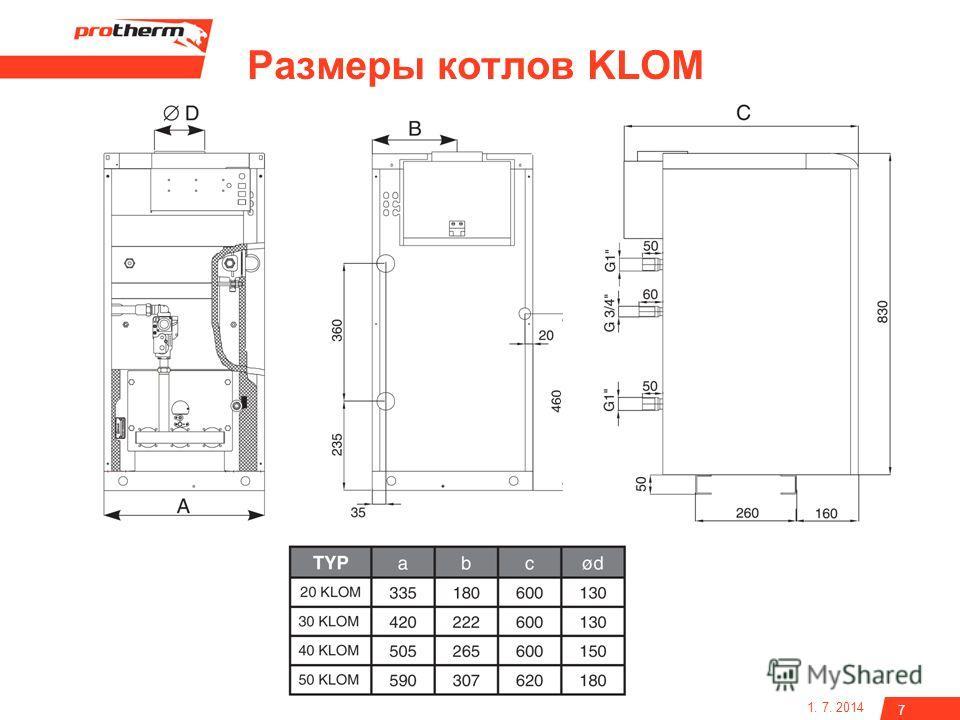 1. 7. 2014 7 Размеры котлов KLOM