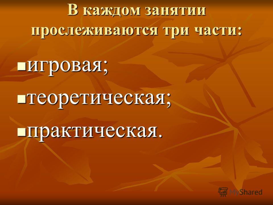 В каждом занятии прослеживаются три части: игровая; игровая; теоретическая; теоретическая; практическая. практическая.