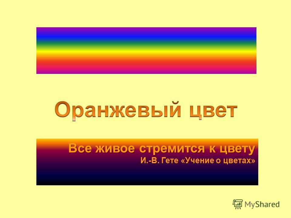 Все живое стремится к цвету Все живое стремится к цвету И.-В. Гете «Учение о цветах»