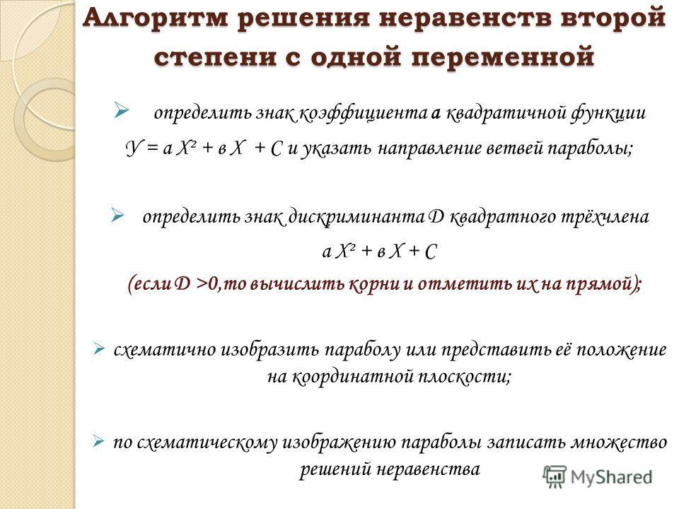 Алгоритм решения неравенств второй степени с одной переменной определить знак коэффициента а квадратичной функции У = а Х² + в Х + С и указать направление ветвей параболы; определить знак дискриминанта D квадратного трёхчлена а Х² + в Х + С (если D >