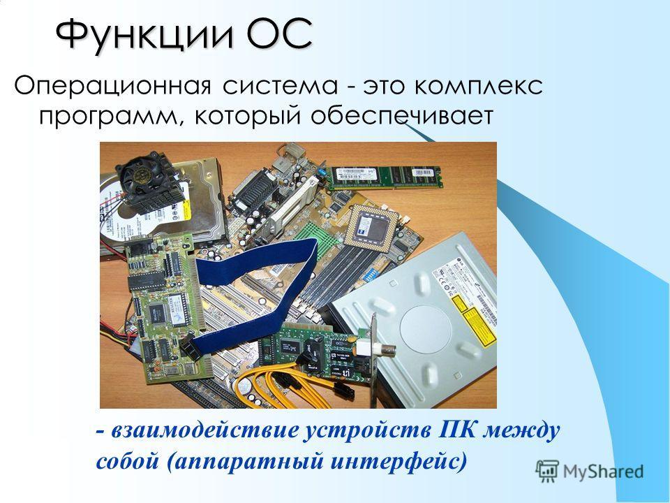 Функции ОС Операционная система - это комплекс программ, который обеспечивает - взаимодействие устройств ПК между собой (аппаратный интерфейс)