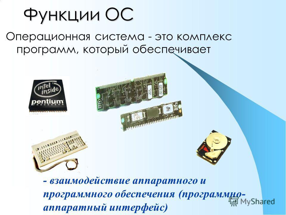 Функции ОС Операционная система - это комплекс программ, который обеспечивает - взаимодействие аппаратного и программного обеспечения (программно- аппаратный интерфейс)