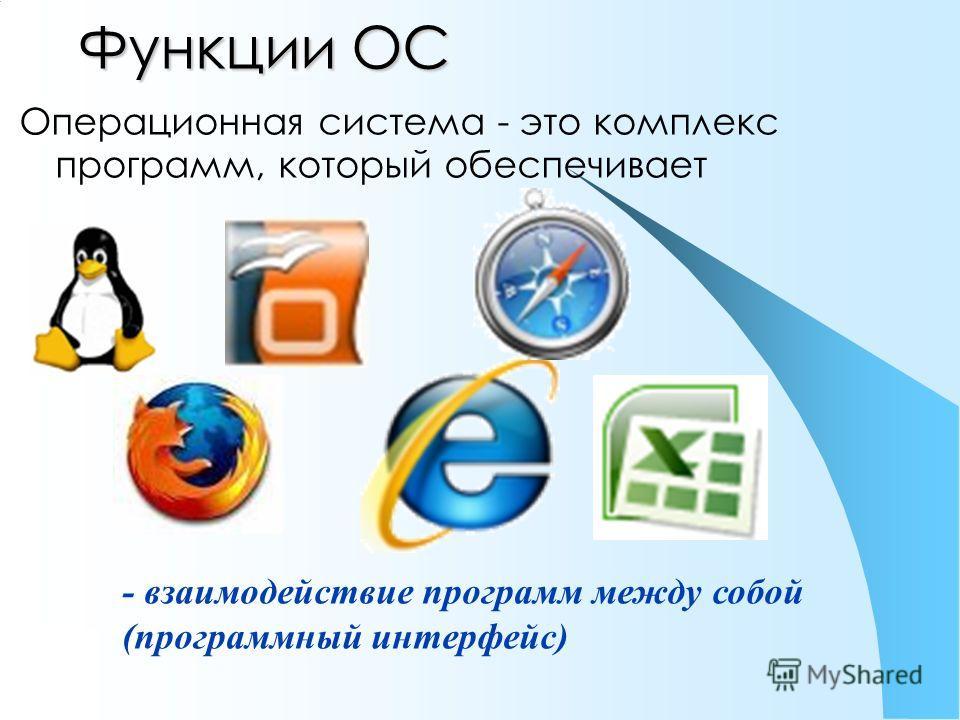 Функции ОС Операционная система - это комплекс программ, который обеспечивает - взаимодействие программ между собой (программный интерфейс)