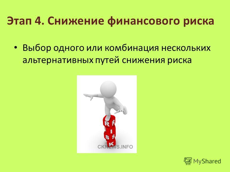 Этап 4. Снижение финансового риска Выбор одного или комбинация нескольких альтернативных путей снижения риска