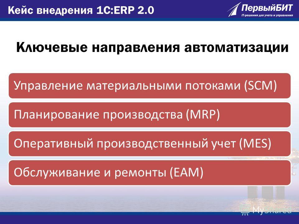Ключевые направления автоматизации Управление материальными потоками (SCM)Планирование производства (MRP)Оперативный производственный учет (MES)Обслуживание и ремонты (EAM) Кейс внедрения 1С:ERP 2.0