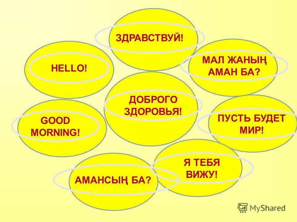 ДОБРОГО ЗДОРОВЬЯ! HELLO! GOOD MORNING! АМАНСЫҢ БА? МАЛ ЖАНЫҢ АМАН БА? ПУСТЬ БУДЕТ МИР! Я ТЕБЯ ВИЖУ! ЗДРАВСТВУЙ!