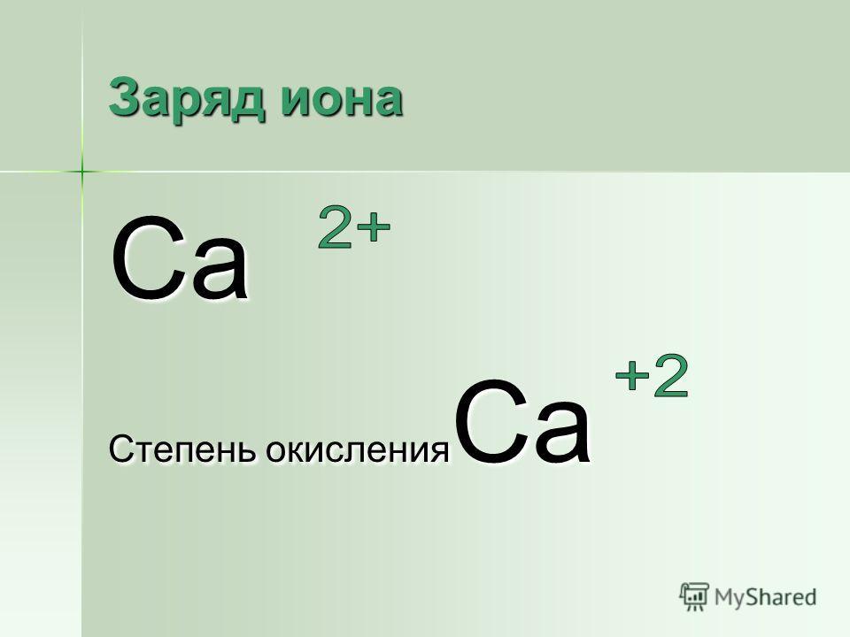 Заряд иона Ca Степень окисления Ca