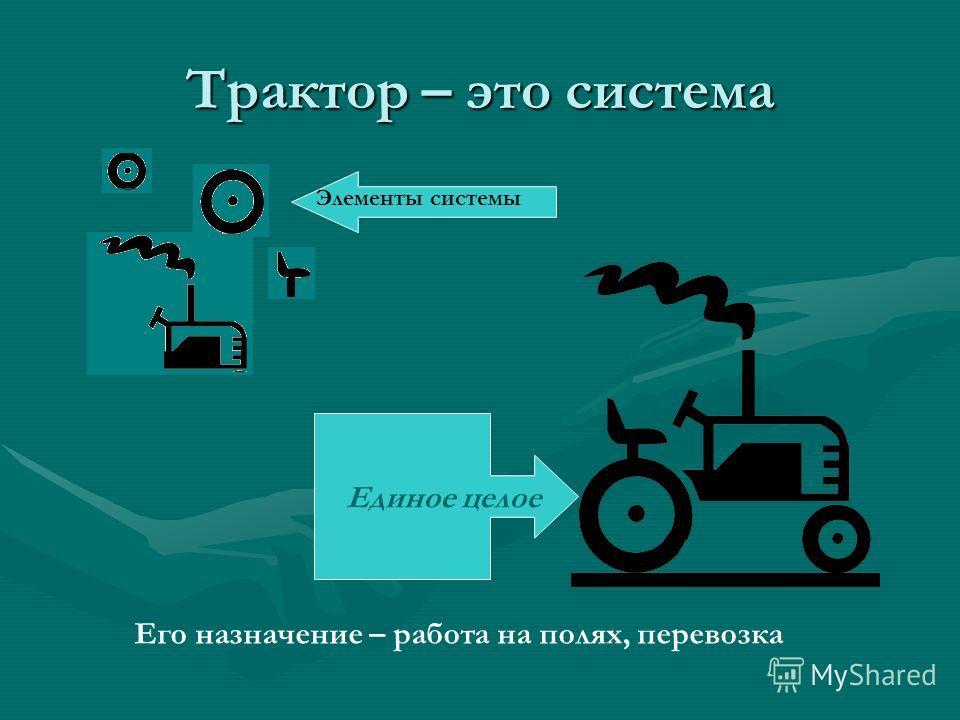 Трактор – это система Его назначение – работа на полях, перевозка Единое целое Элементы системы