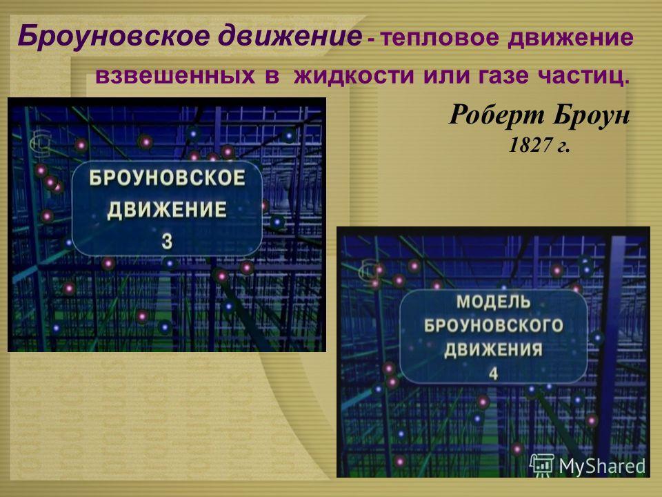 Броуновское движение - тепловое движение взвешенных в жидкости или газе частиц. Роберт Броун 1827 г.